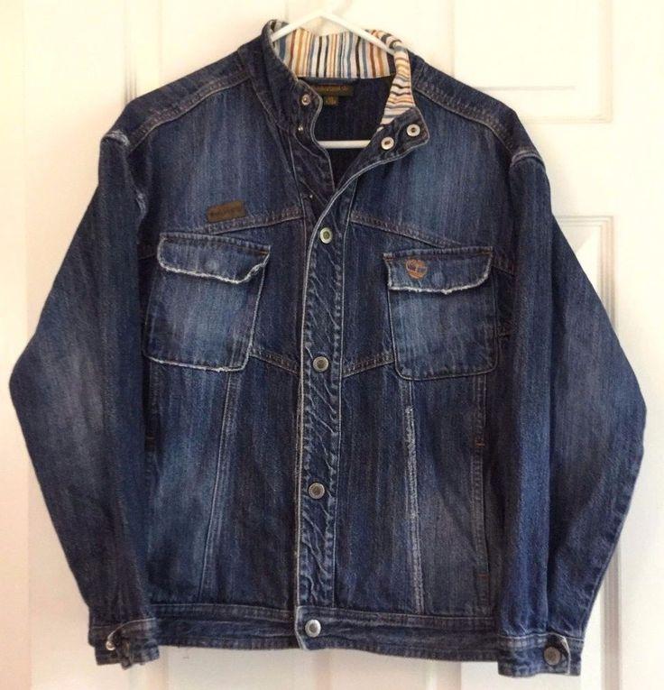 Timberland Denim Jacket XL Cotton Intentionally Distressed Seams Snap Front   #Timberland #DenimJeanJacket #Casual