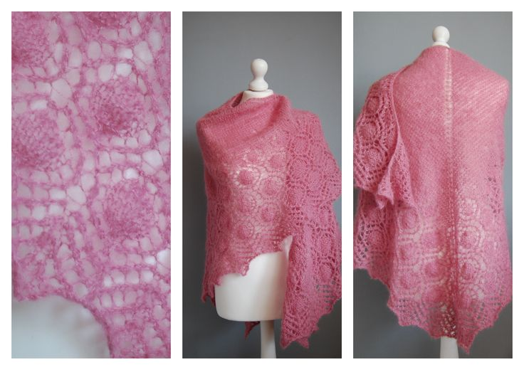Lace mohair shawl in rose-colored.