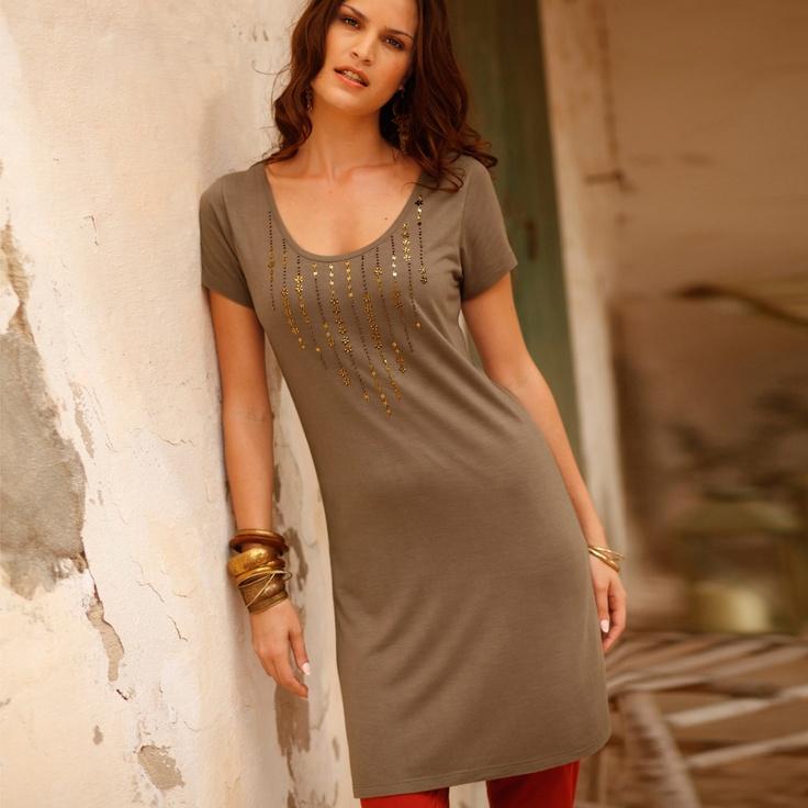 Tunique femme longue perles collection 2013 #Blancheporte
