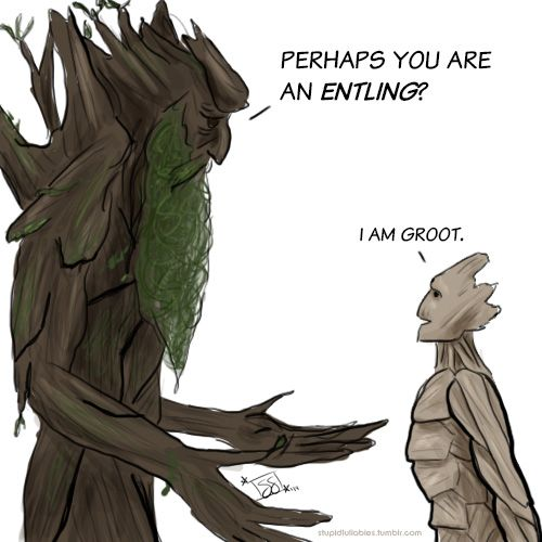 Treebeard and Groot are about to have a remarkably one-sided conversation.