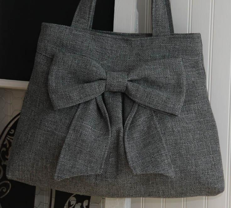 Diaper Bag / Book Bag / Purse- Medium Gray  w/ Double Handles and exterior pocket. $60.00, via Etsy.