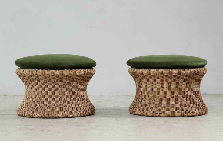 Pair of Eero Aarnio Cane Stools with Green Seat Pads image 2
