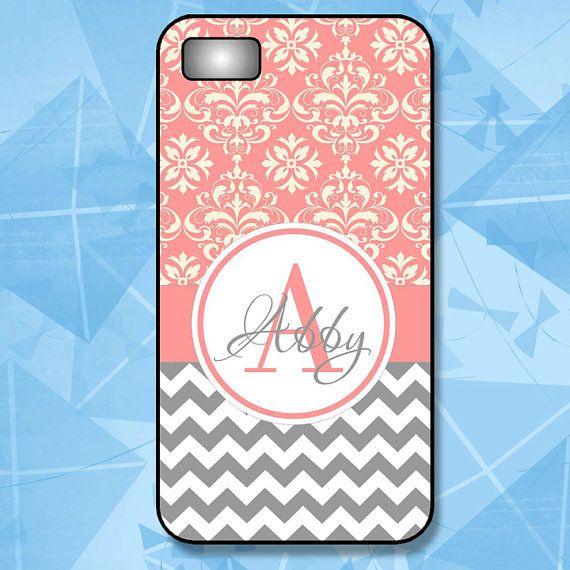 Personalized Phone Case - Monogram iPhone Case 4/4S - 5/5S -5C - 6 - 6 Plus - Grey Chevron and Pink Damask -  Plastic, Rubber, Tough Case