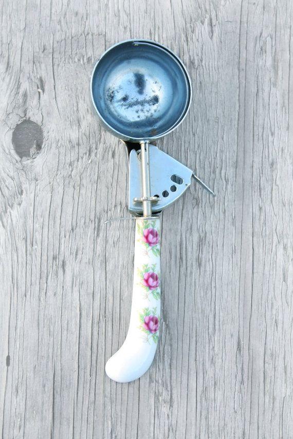 antique ice cream scoop enamel floral 1930
