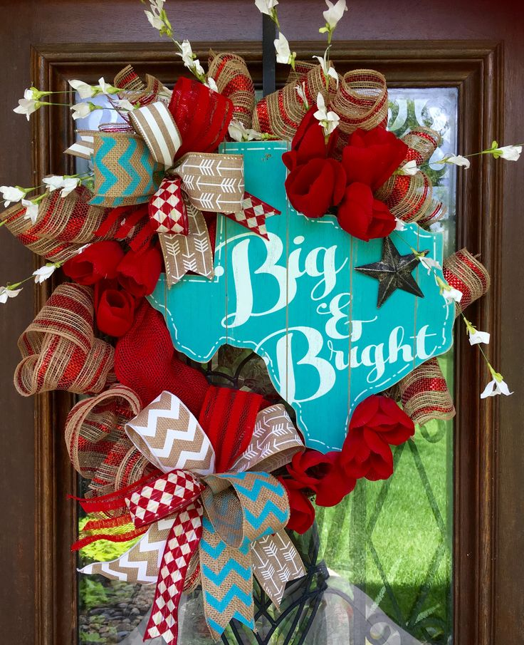 red and turquoise Big and Bright Texas wreath