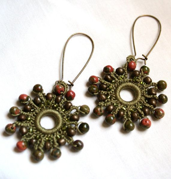 Burst of Autumn Tatted Earrings by KnotTherapy on Etsy, $18.00