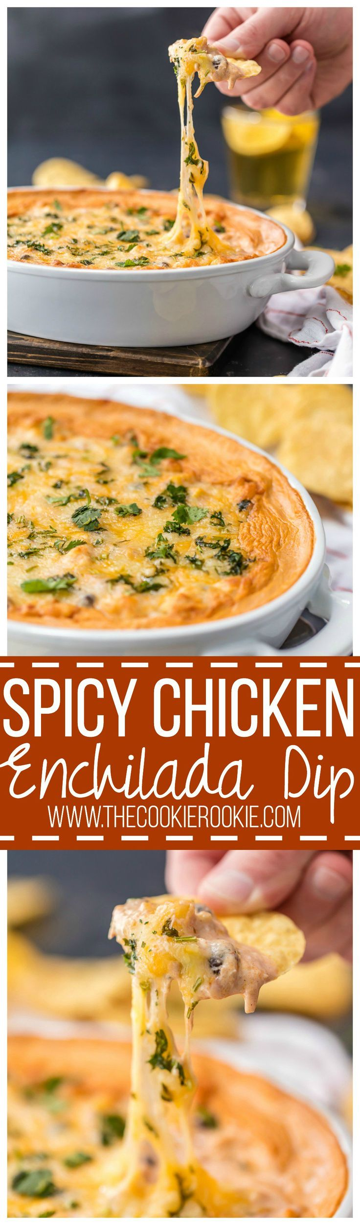 Spicy Chicken Enchilada Dip, the BEST DIP EVER! Full of beans, corn, chicken, cheese, enchilada sauce, and cream cheese! SO ADDICTING! Best tailgating dip for any party!