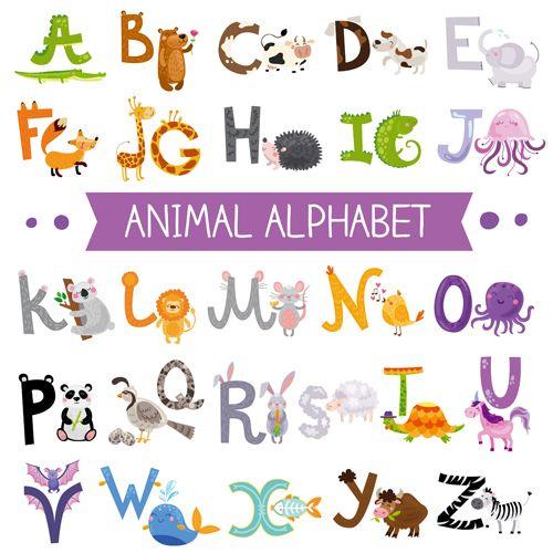 Cartoon animal alphabets deisng vector set 06