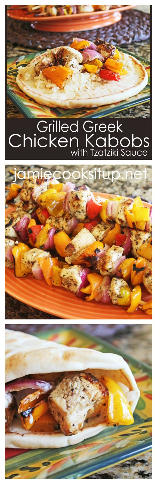 Grilled Greek Chicken Kabobs with Tzatziki Sauce from Jamie Cooks It Up!