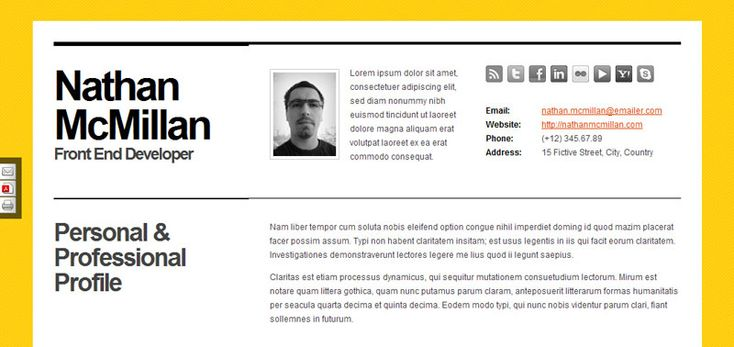 35 Best Online CV Resume Templates | Web & Graphic Design | Bashooka