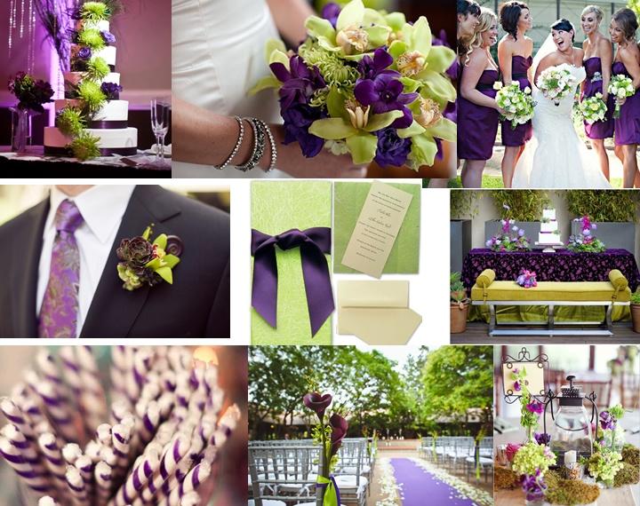 decoracin en morado y verde para tu boda