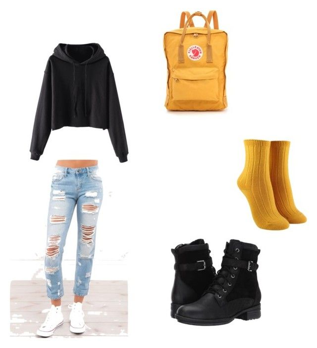 Yellow fall leaves by kyrarosie on Polyvore featuring polyvore, mode, style, Forever 21, Blondo, Fjällräven, fashion and clothing