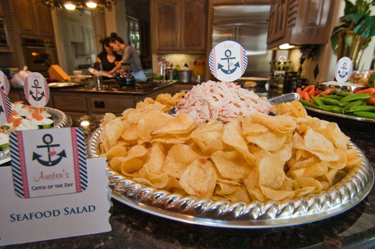 Nautical party snacks: Seafood Salad with Cape Cod potato chips