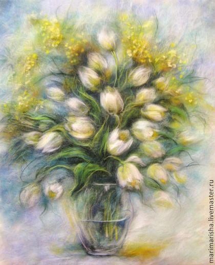 Купить Картина из шерсти Весеннее настроение мая - мятный, картина из шерсти, живопись шерстью, Живопись