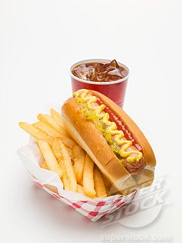 Hot dog, with a side of fries and a soda.   This meal is another example of consuming too many carbs in one meal and causes weight gain. Learn how to enjoy a hot dog with the proper combinations.  wwww.Mydietfreelife.com