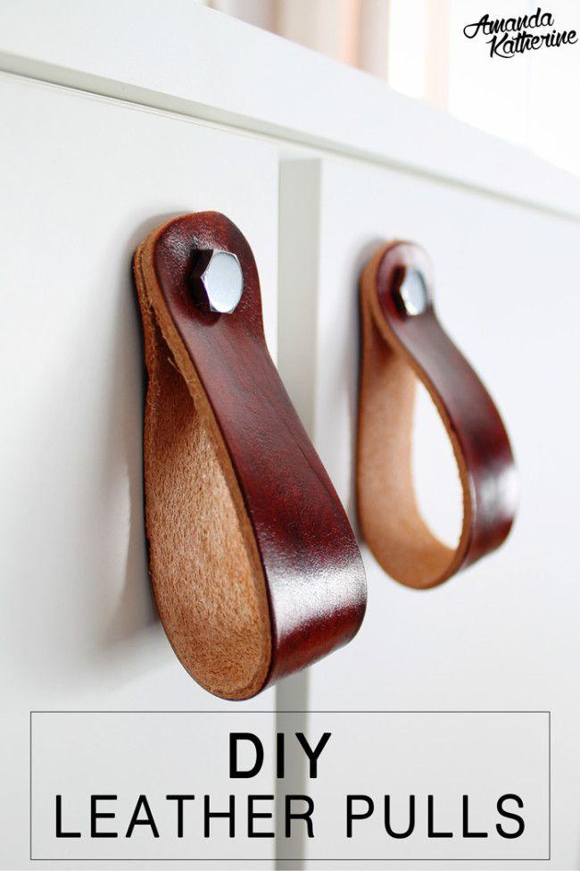 IKEA Vanity Hack DIY Leather Pulls | http://www.amandakatherine.com/ikea-vanity-hack-diy-leather-pulls/