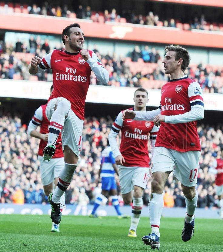 Spanish eyes are smiling as Santi and Nacho celebrate. #Arsenal v #Reading