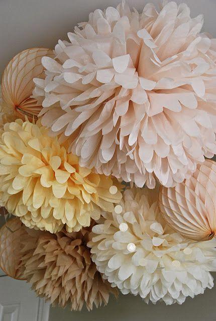 Beautiful paper pom poms, Tutorial Here: http://www.blueeyedyonder.com/tid-bits/prettiful.html