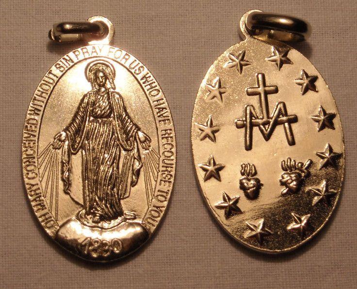 Miraculous Medal. Steel Medal. 3,5 cm. contact us on info@tiemmecreazioni.it