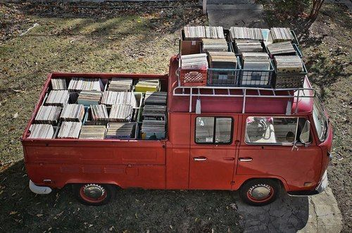 planning for a long set - van, records, record collection, vinyl