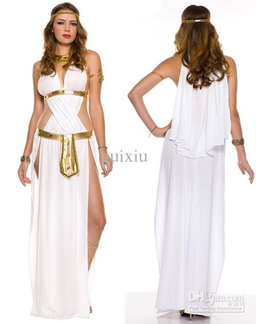 DIY this with 2 panels of white cloth- slit at the waist to twist and tie at the neck. Use hot glue for a sparkly gold ribbon at the waist and under the breasts! Perfect