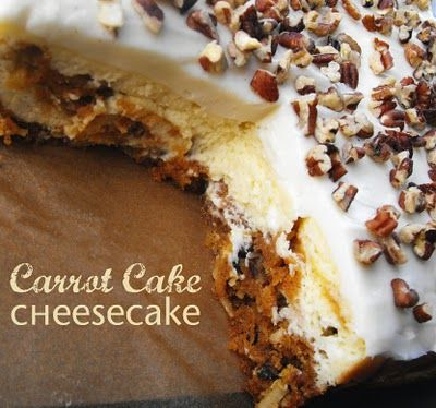Carrot cake cheesecake  Two of my favorite things in oneDesserts, Carrot Cakes, Fun Recipe, Carrot Cake Cheesecake, Food, Chees Cake, Cheesecake Recipe, Fries Gal, Carrots Cake Cheesecake