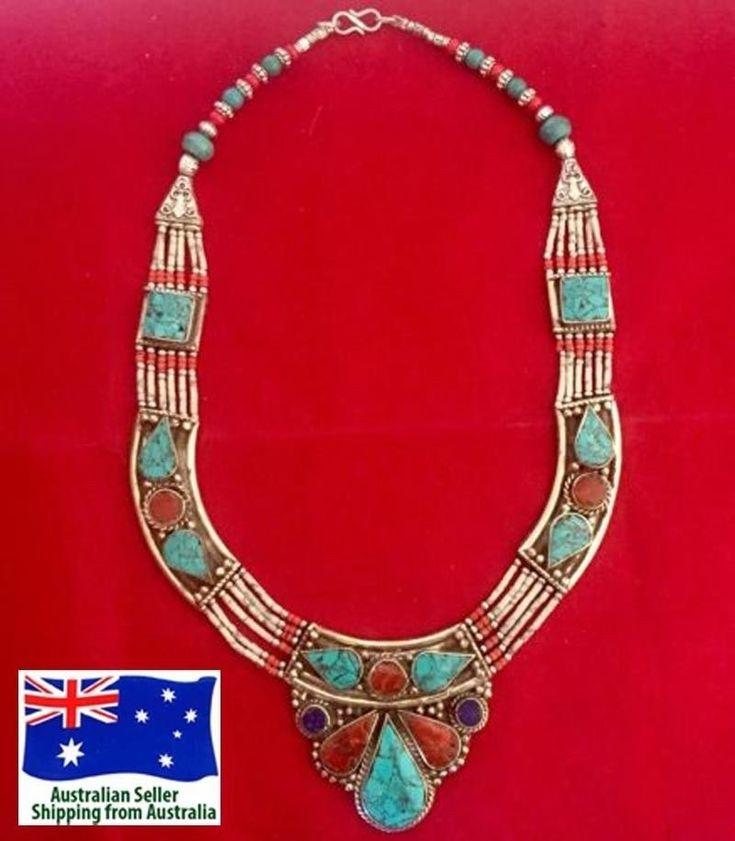 Handmade Tibetan Silver Necklace Turquoise Coral Tribal Fashion Women Jewellery