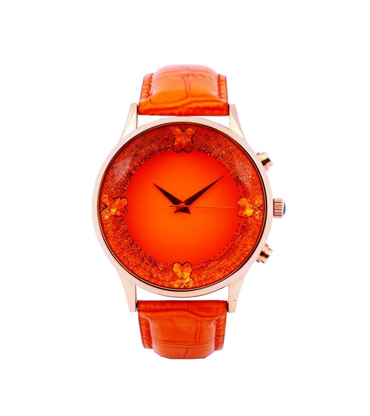 #Rose #Gold & #Orange Swarovski #Studded #Women #Watch by #Jaipur #Watch #Company at #Indianroots