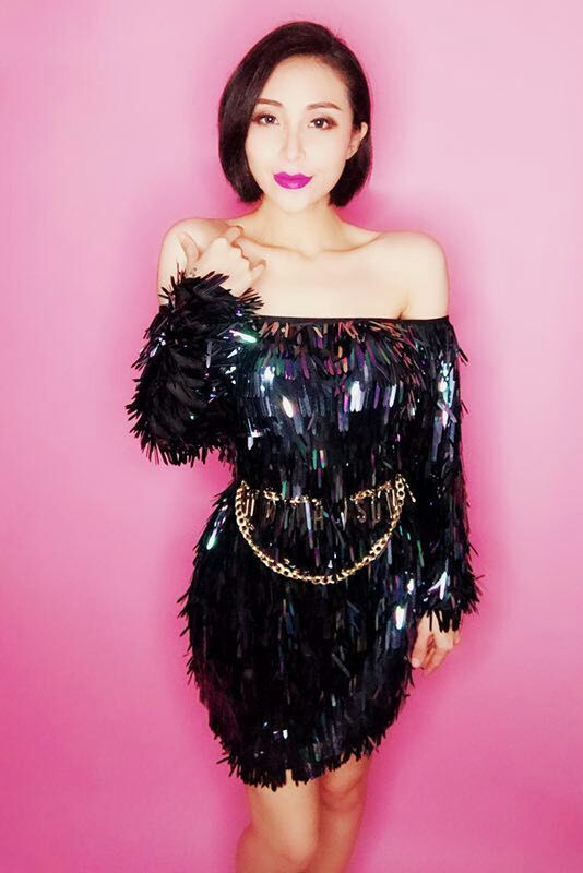 b2f2ce21e623a0 Women Sexy Sequins Dress Outfit Female Singer Party Dress Dance Stage Costume  Black Dresses Nightclub Show DJ DS Outfit-in Dresses from Women's Clothing  ...