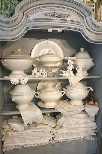 French grayish blue and white ironstone and linens  ~~  Just Beautiful
