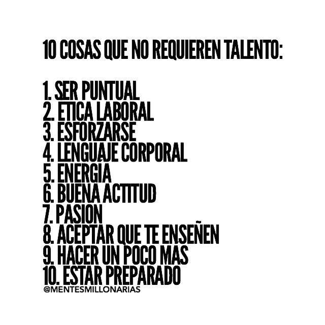 10 cosas q no requieren talento