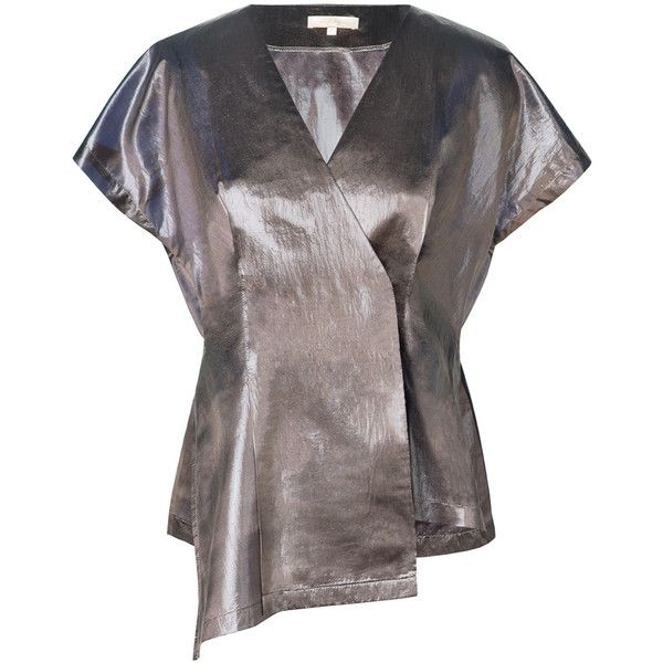 Leka NYC - Metallic Short Sleeve Chiffon Blouse (€150) ❤ liked on Polyvore featuring tops and blouses