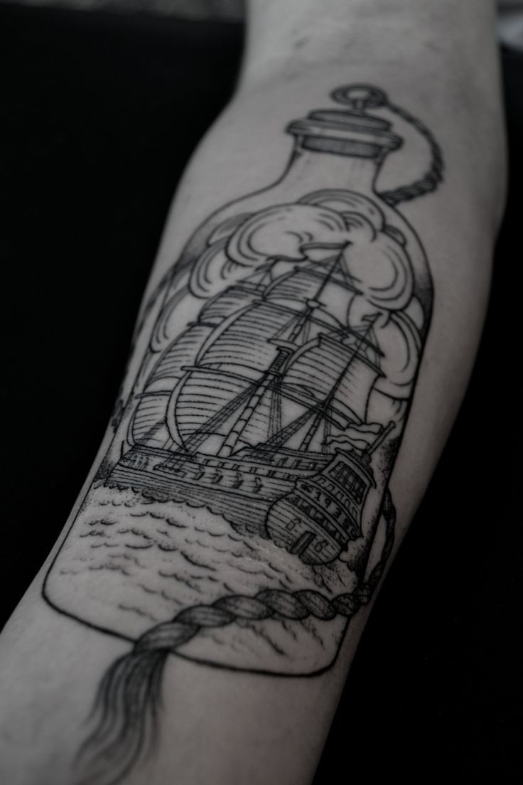 Ship in a bottle for a quarter or half-sleeve.