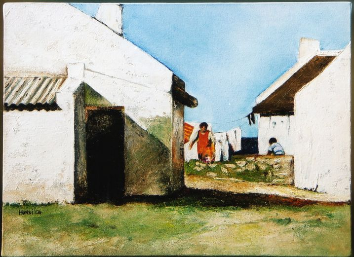 Fisherman's cottage, Arniston, Cape, South Africa. Oil on canvas by E.Hurni
