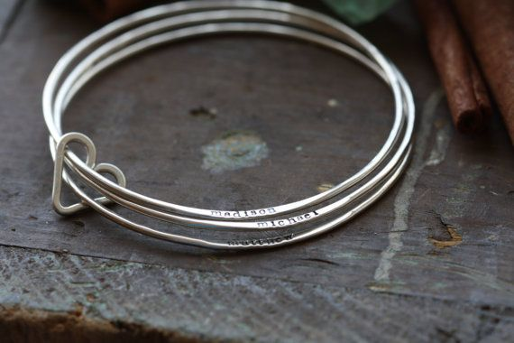 Bangle set Hand stamped personalized Sterling by cinnamonsticks