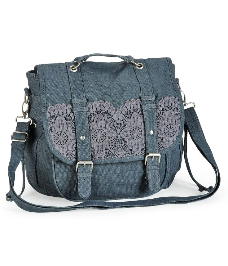 Crochet-Trim Convertible Messenger Backpack - It has a kitschy, Anthropologie-like feel to it.