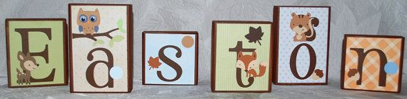 Personalized Baby Name Block Letters  Forest by auntjjsattic, $8.00