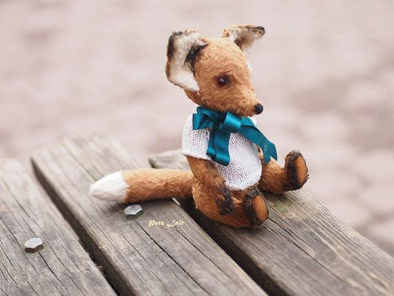 teddy fox ooak Fox bear Teddy plush animal plush fox от PetsLair