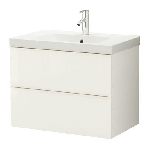 GODMORGON / ODENSVIK Kommod med 2 lådor - högglans vit - IKEA