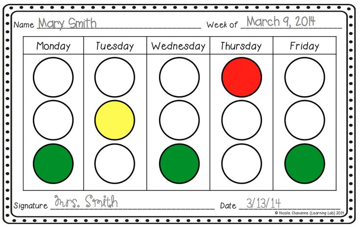 Weekly light system sheet. Behavior management, classroom management.