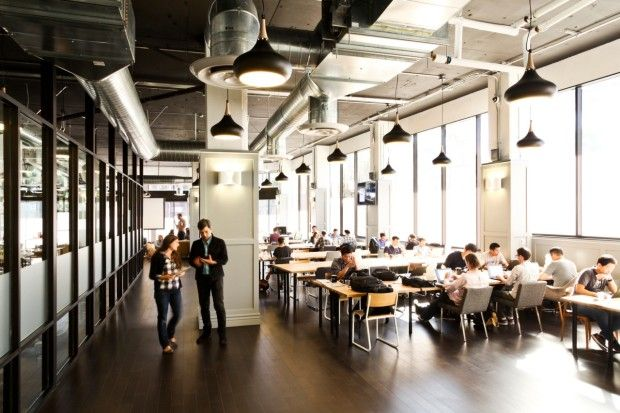 New York-based WeWork operates shared work spaces in three cities and opens its first Seattle space next month. This building in Los Angeles...
