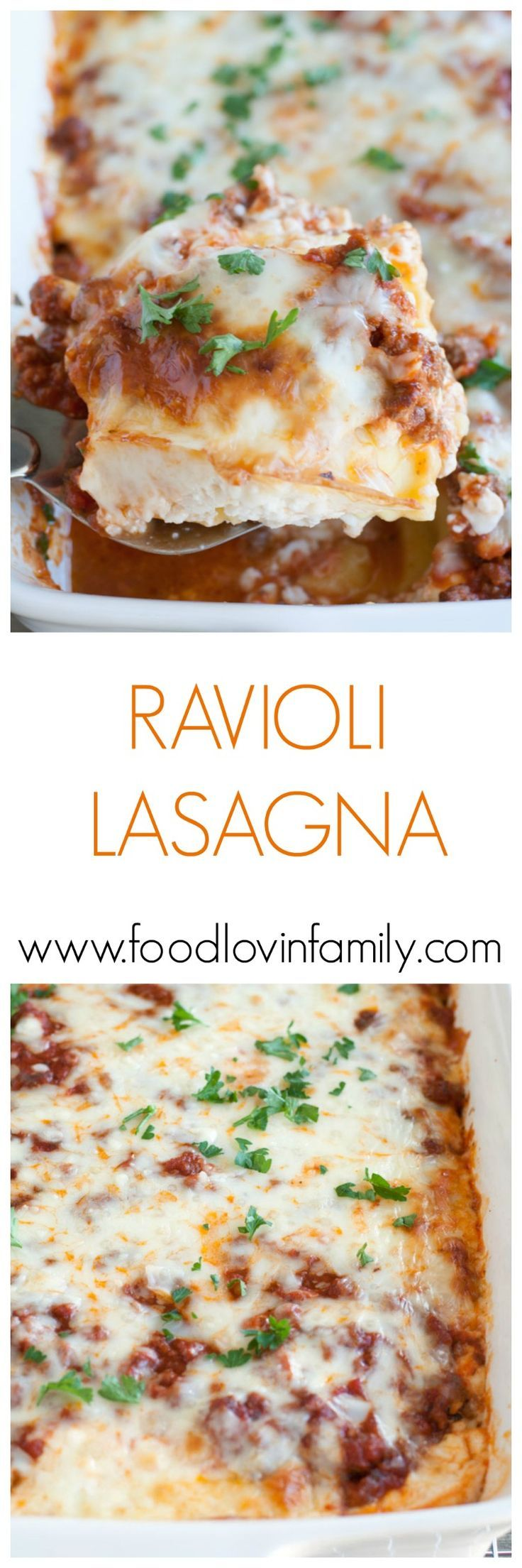 Baked Ravioli Lasagna is easy and cheesy. A new family favorite made quick with refrigerated or frozen ravioli and jarred sauce. | http://www.foodlovinfamily.com/baked-ravioli-lasagna/