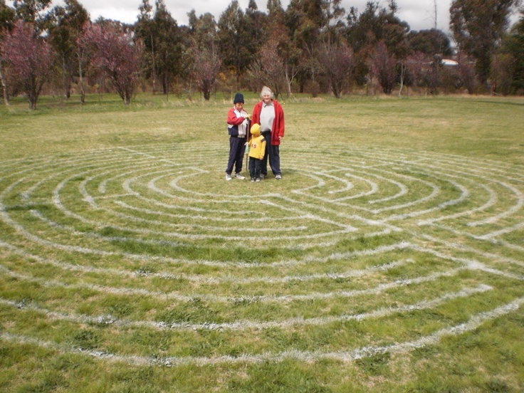 The first line-marked labyrinth I made with my 3 helpers in the middle. Newling Oval, Armidale