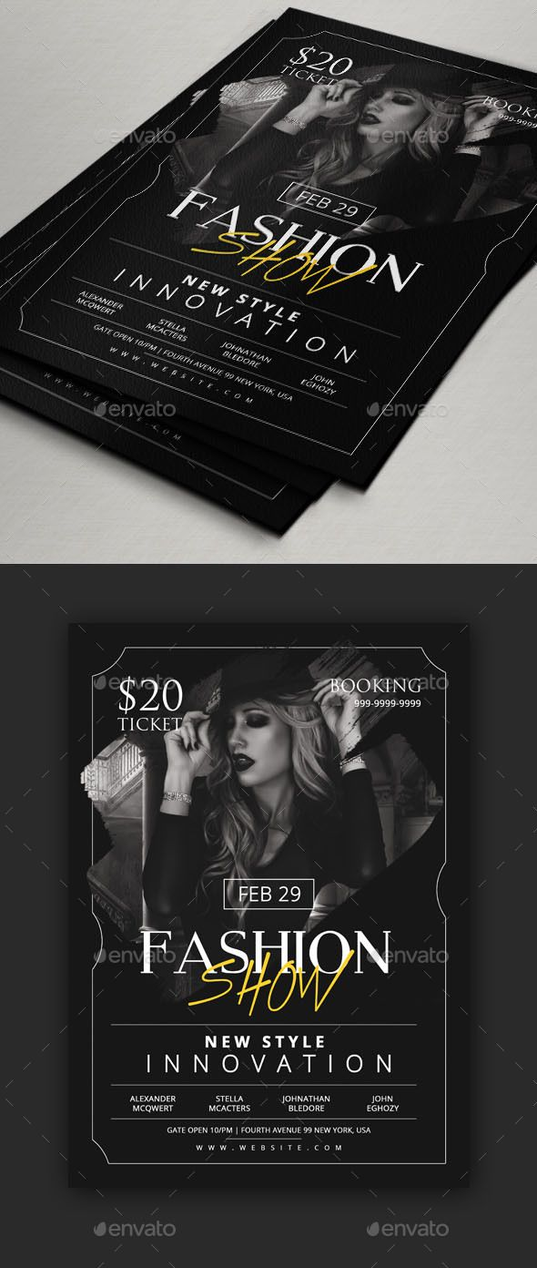 Fashion Show Flyer Template — Photoshop PSD #flyer #club • Available here → https://graphicriver.net/item/fashion-show-flyer-template/19399269?ref=pxcr