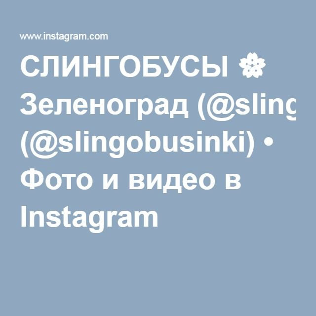 СЛИНГОБУСЫ 🌸 Зеленоград (@slingobusinki) • Фото и видео в Instagram