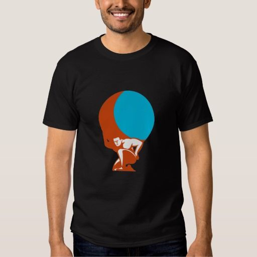 Atlas Carrying Globe Kneeling Retro Tee Shirt. Illustration of Atlas kneeling carrying globe world earth on his back set on isolated white background done in retro style. #Illustration #AtlasCarryingGlobeKneeling