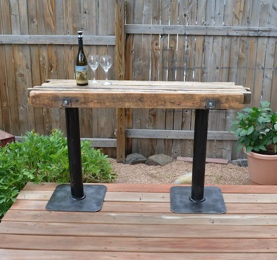 Re Purposed True 2x4 To A Bar Top Table Patio Tables Modern Furniture