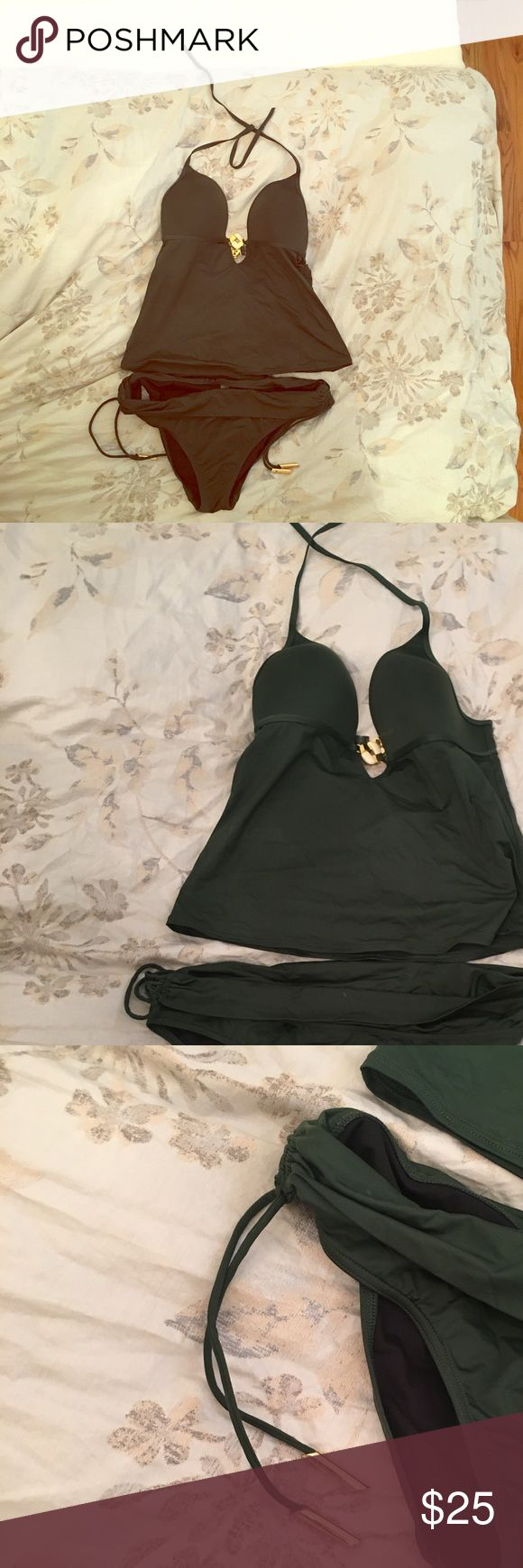 Victoria secret hunter green tankini Gorgeous tankini. Hunter green with amazing gold hardware. Cups are molded with slight padding for lift. Great condition. Top and bottoms are large Victoria's Secret Swim