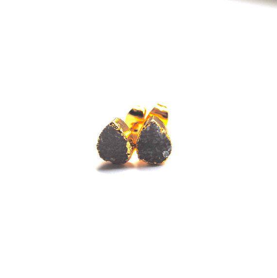 Druzy Stud Earrings Druzy Earrings Gold plated by AshaJewellery