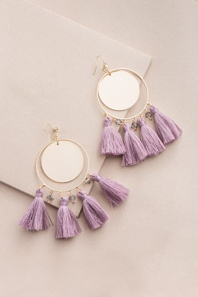 e4e35520b Queen Midas Tassel Earrings | Mauve $15 // Gold and purple tassel statement  earrings with an oversized fit.